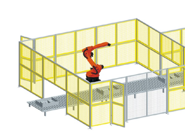 Modular wire barriers Guards safely enclose robotics and other machines