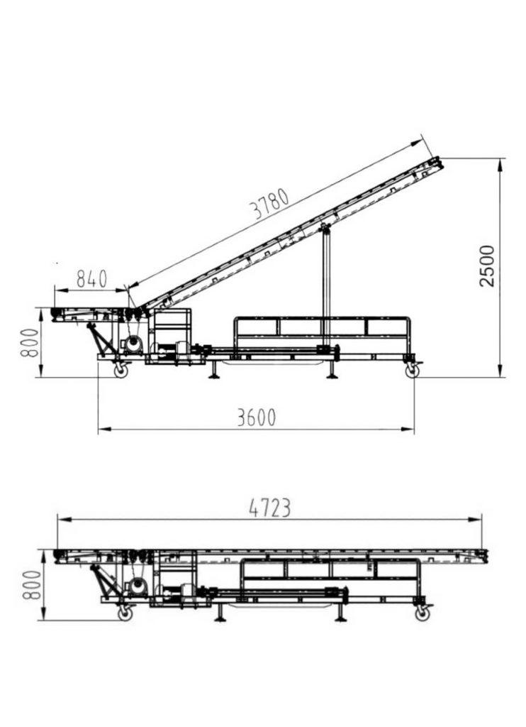 truck loading conveyor incline belt size