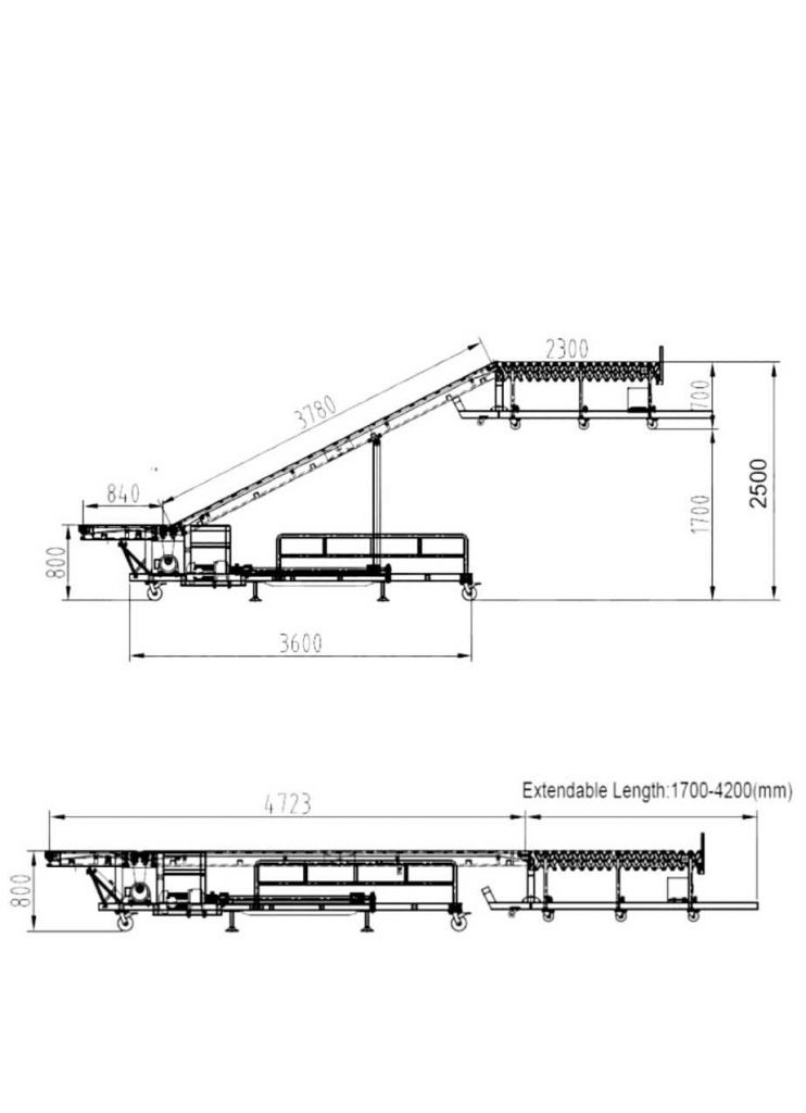 truck loading conveyor incline belt with roller size
