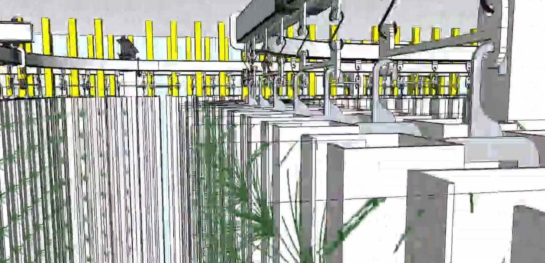 Overhead Conveyor for High Density Vertical Growing Facilities